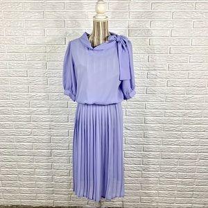 Vintage Semi-Sheer Lavender Pleated Midi Dress